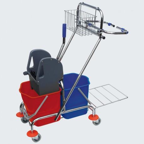 wózek do mycia z dwoma wiadrami chrom 2x17l